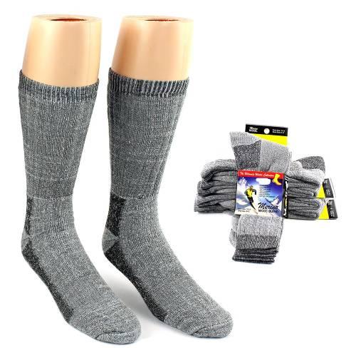 2 Pairs of Thermal Merino Wool Crew Socks