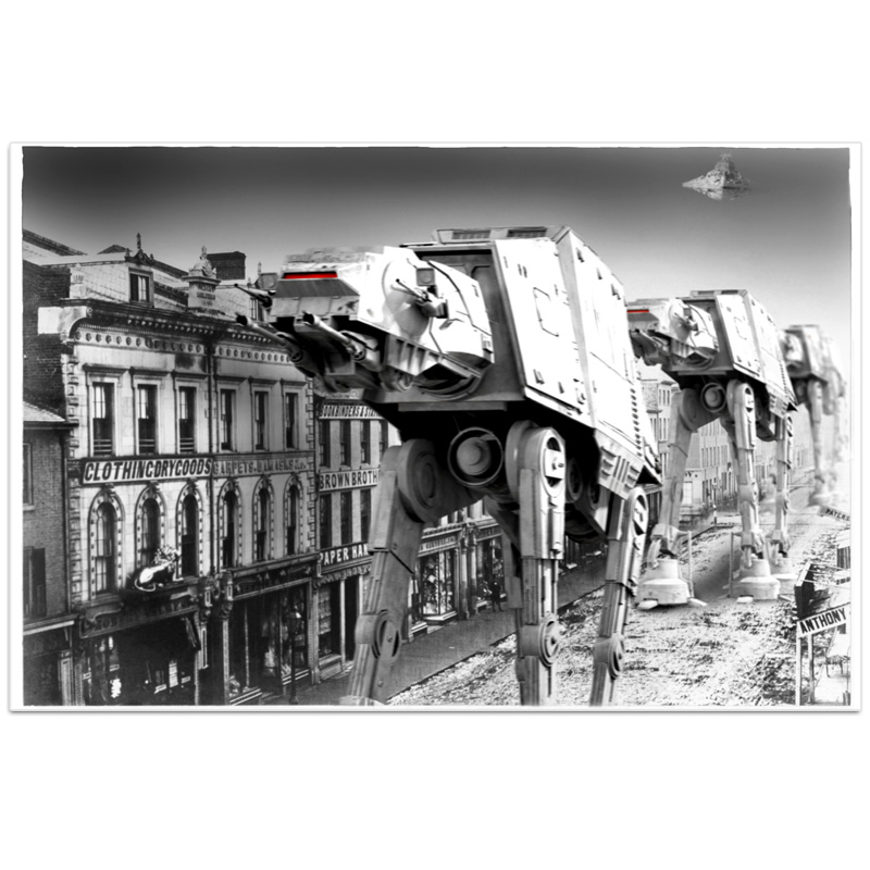 Star Wars Inspired AT-AT Stroll Through Town -  Poster or Canvas - Available in 2 Sizes - SHIPS FREE