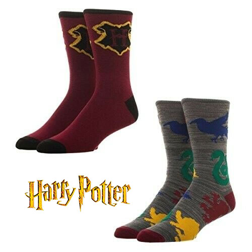 3356ecdef98f 2 Pairs Officially Licensed Harry Potter Crew Socks - Hogwarts School and 4  Different House Crests