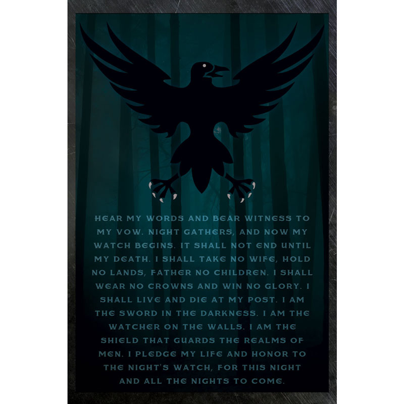 The Night\'s Watch Oath - Poster - SHIPS FREE!
