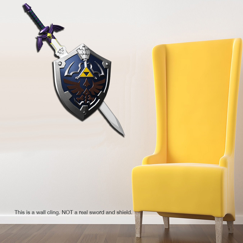 Legend of Zelda: Master Sword and Hylian Shield Wall Cling - SHIPS FREE!