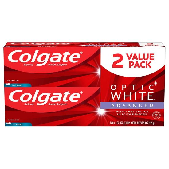 2-Pack Colgate Optic White Advanced Teeth Whitening Toothpaste