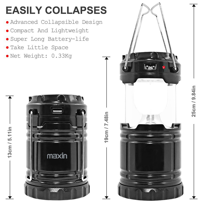 Solar Powered Ultra Bright LED Rechargeable Camping Lantern