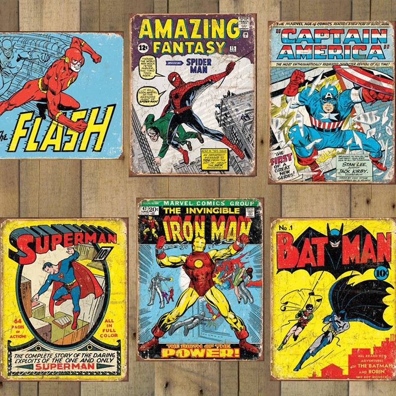 Captain America Vintage Look Tin Metal Sign DC Comics NEW Super Hero