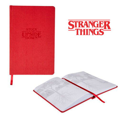 "$9.99 (reg $18) Stranger Things ""Stuck in the Upside Down"" Leather Notebook / Journal w Ribbon Bookmark"