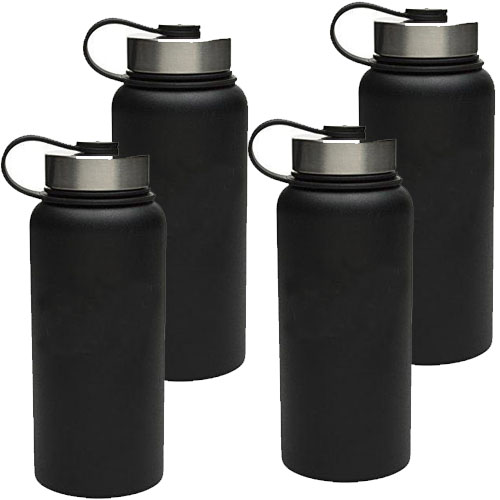 4 PACK of ZAK Designs Large 18oz Double Walled Stainless Steel Vacuum Insulated Wide Mouth Bottle - $30 EACH amazon, but you get FOUR from us for $18.99, just  $4.75 each! You\'re getting a GREAT deal on this because they have assorted logos / licenses on them, but they are all black - Wide mouth makes it easy to put in ice, fruit etc, and the double walled vacuum insulated keeps drinks COLD just like a Yeti bottle! SHIPS FREE!
