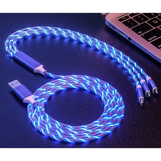 3 in 1 Energy Flowing LED USB High Speed Charging Cable $9.99 (reg $18)