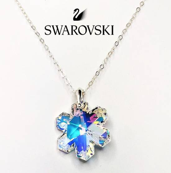 $29.99 (reg $118) Swarovski Crystal Sterling Silver Snowflake or Teardrop Pendant Necklace
