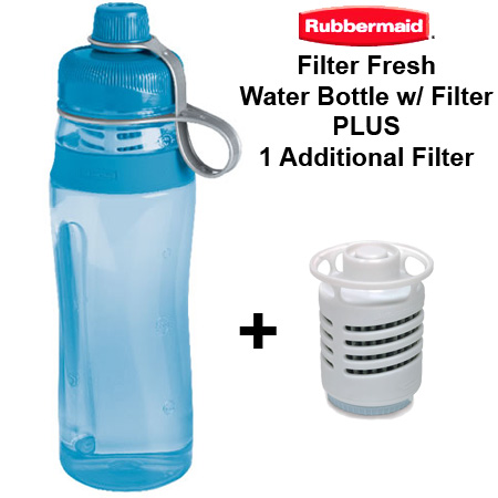 Filter Fresh Sport Water Bottles with One Filter LOT OF 2 Rubbermaid 20 Oz