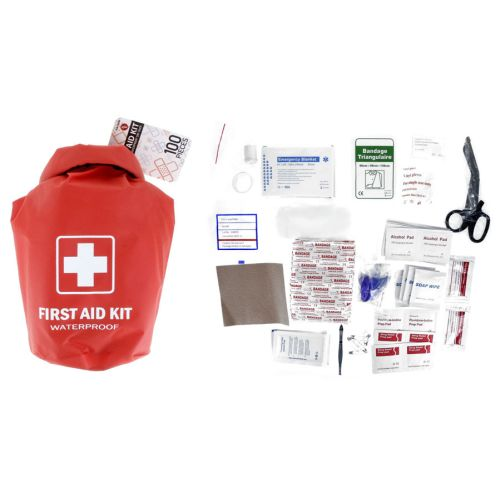 100-piece First Aid Kit Stored in a Waterproof Red Dry Sack