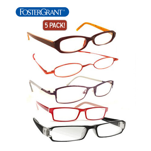 5-Pack of Foster Grant Reading Unisex Glasses