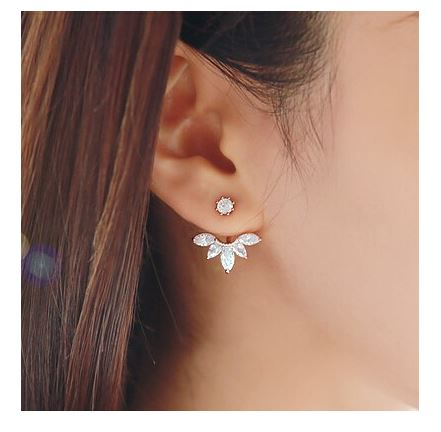 Rose Gold Crystal Behind The Ear Lotus Flower Earrings