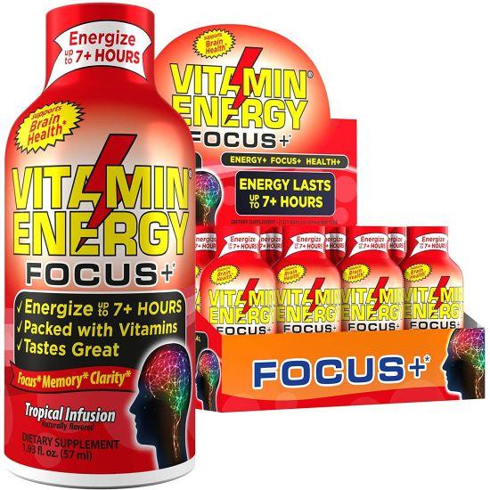 12-Pack VitaminEnergy Energy Shot, Focus+, Zero Sugar Energy Shot