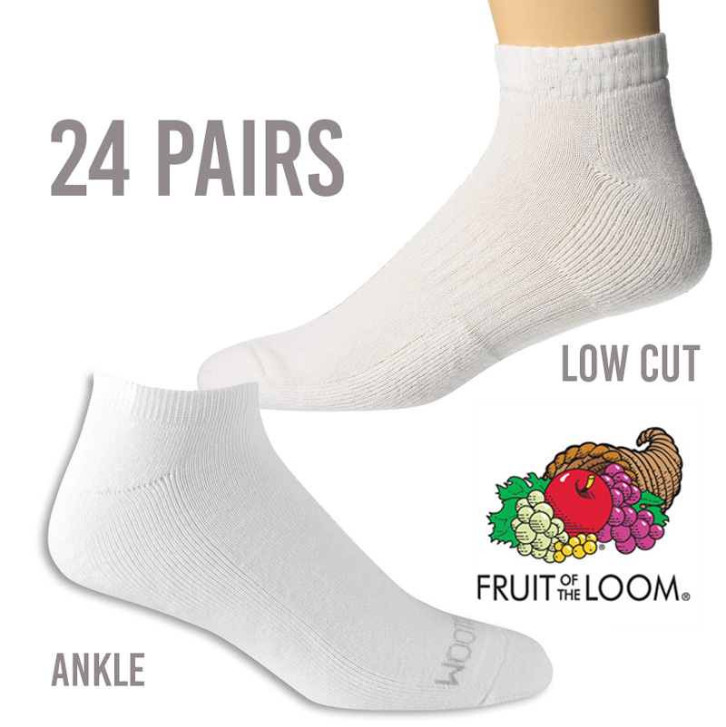 24 Pairs of Fruit of the Loom Ankle or Low Cut Socks