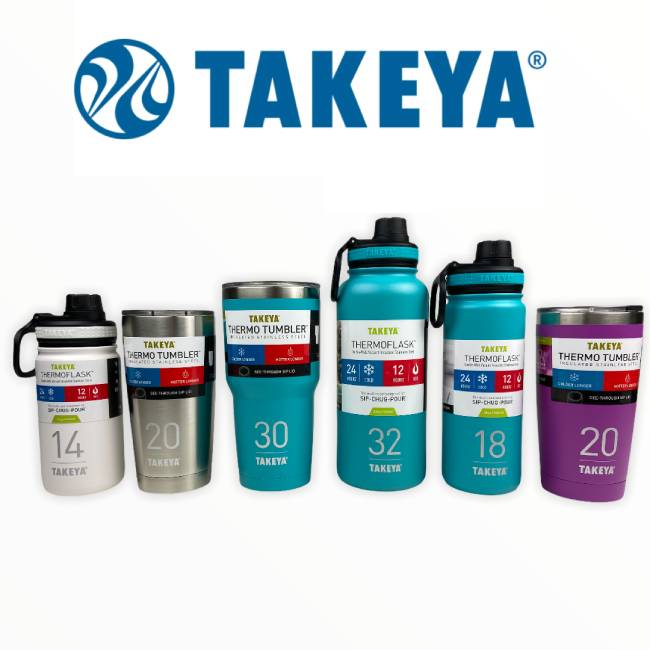 3 Pack of Assorted Takeya Double Walled Vacuum Insulated Stainless Steel Water Bottles $29.99 (reg $90)