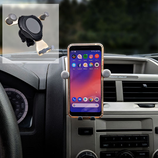 SEE THE VIDEO - Universal Gravity Mount Cell Phone Holder - VERY easy to use and secure mount for most cell phones! - WHY is this so cool? Well, it fits your phone, your friends phone, the phone you buy a year from now....you get the idea :) - Order 3 or more for just $6.99 each!  - SHIPS FREE!