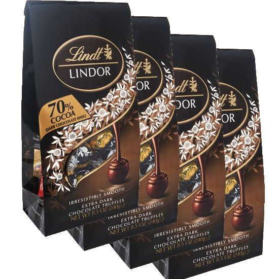 $19.99 (reg $36) 4 Bags of Lindt LINDOR Dark Chocolate Truffles