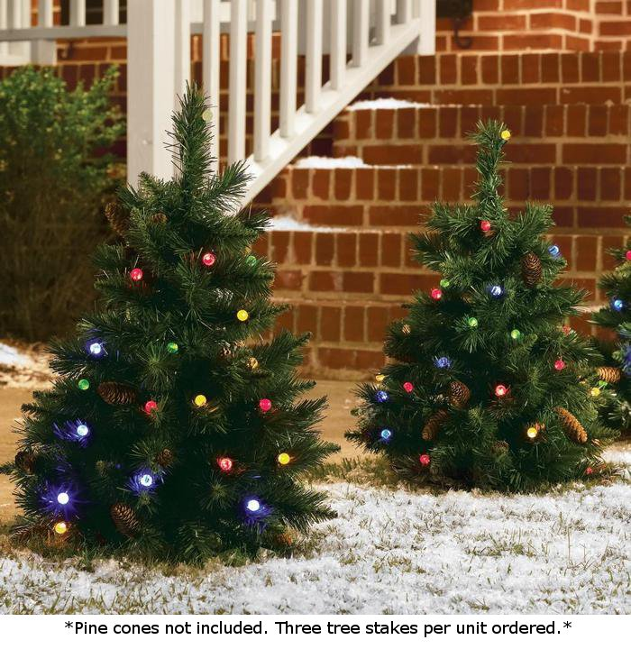 Pre Lit Outdoor Christmas Trees Battery Operated.Set Of 3 Cordless Pre Lit Led 24 Inch Yard Christmas Trees