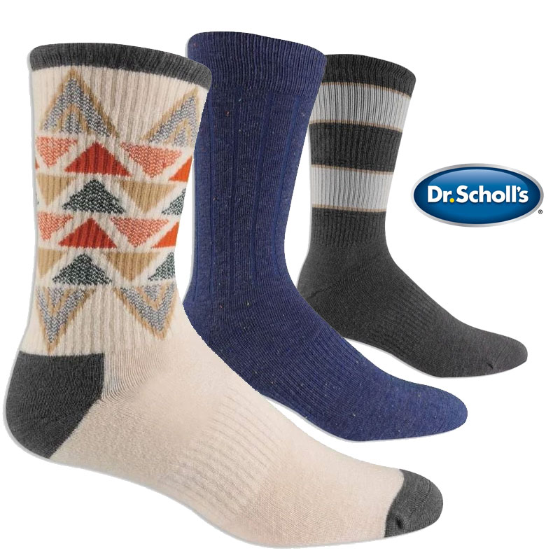 6 Pairs of Dr. Scholl\'s Elevated Comfort Knit Dress Socks in Assorted Styles  - These socks are very, very NICE! Super comfortable and stylish! Only $1.99 per pair! SHIPS FREE!
