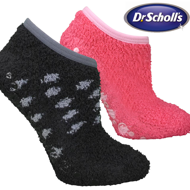 Scholls Women/'s Spa Socks with Grippers 2 Pairs Dr