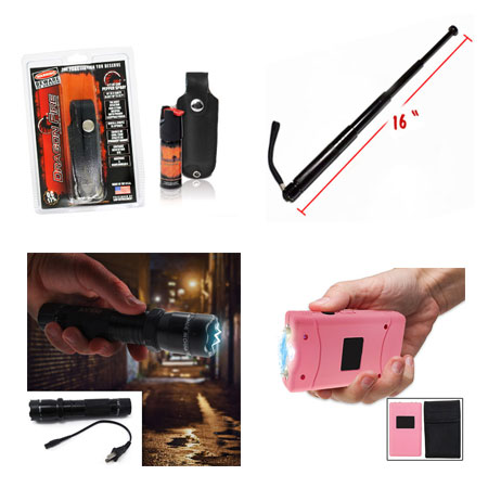 Self Defense Must-Haves - Aluminum Rechargeable LED Flashlight With Built-In Stun Gun, Pepper Spray, Ladies 3 Million Volt Stun Gun With Nylon Pouch w/Belt Loop,  and Retractable Metal Baton - Simple, discrete, and effective self defense tools for you and your loved ones! Grab one of each for yourself & anyone you think may need protection! - Starting at $6.49 - SHIPS FREE!