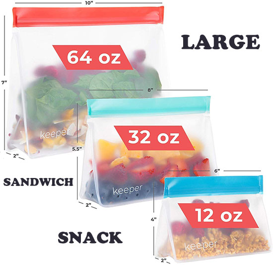 5-Pack 12-oz. Keeper Reusable Silicone Zipper Bags