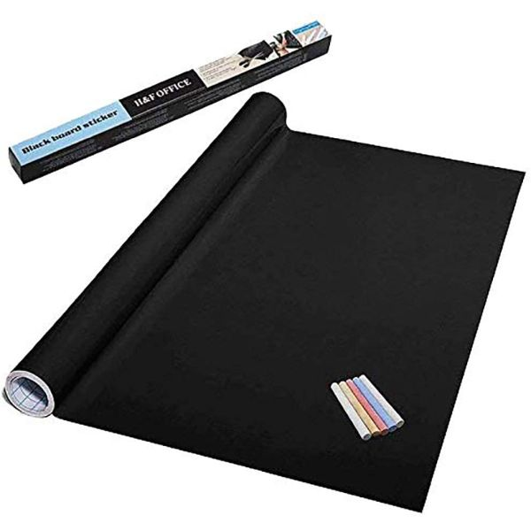 Extra Large Chalkboard Contact Paper Roll with 5 Pieces of Colored Chalk