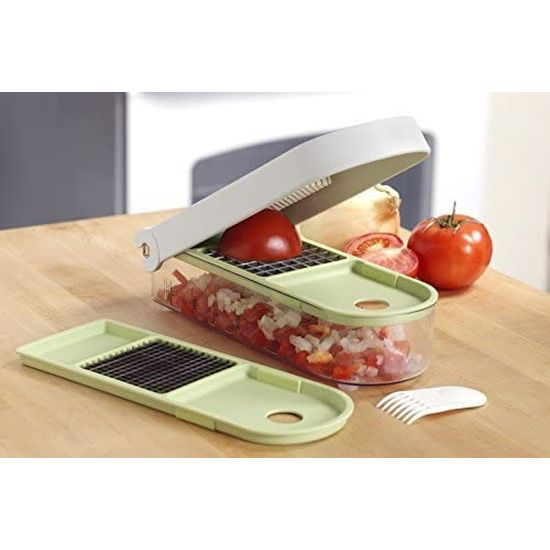 The Instant Chop Wizard - Chops or dices in one swift motion - into the attached, see-through tray, tray also measures!  Also GREAT for preparing upcoming holiday meals! Order 2 or more and SHIPPING IS FREE!
