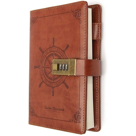 Vintage Brown Leather Journal With Lock